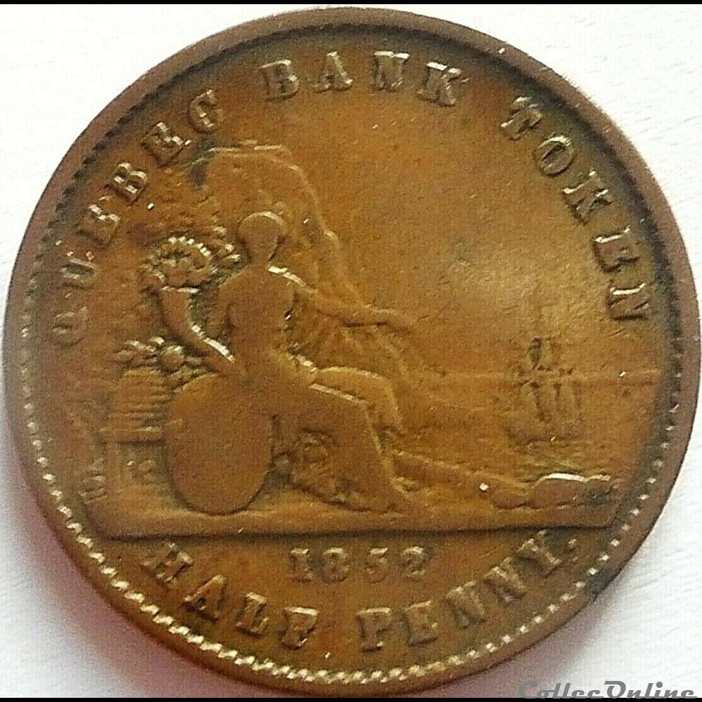 monnaie monde canadum quebec un sou 1852 halfpenny token bank canadian provinces ex 2
