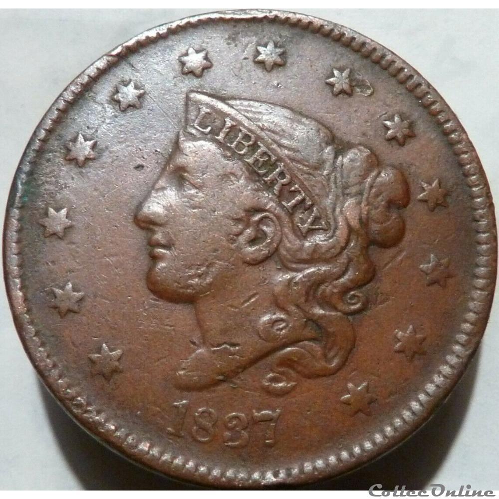 monnaie monde etat uni 1837 one cent ex 3