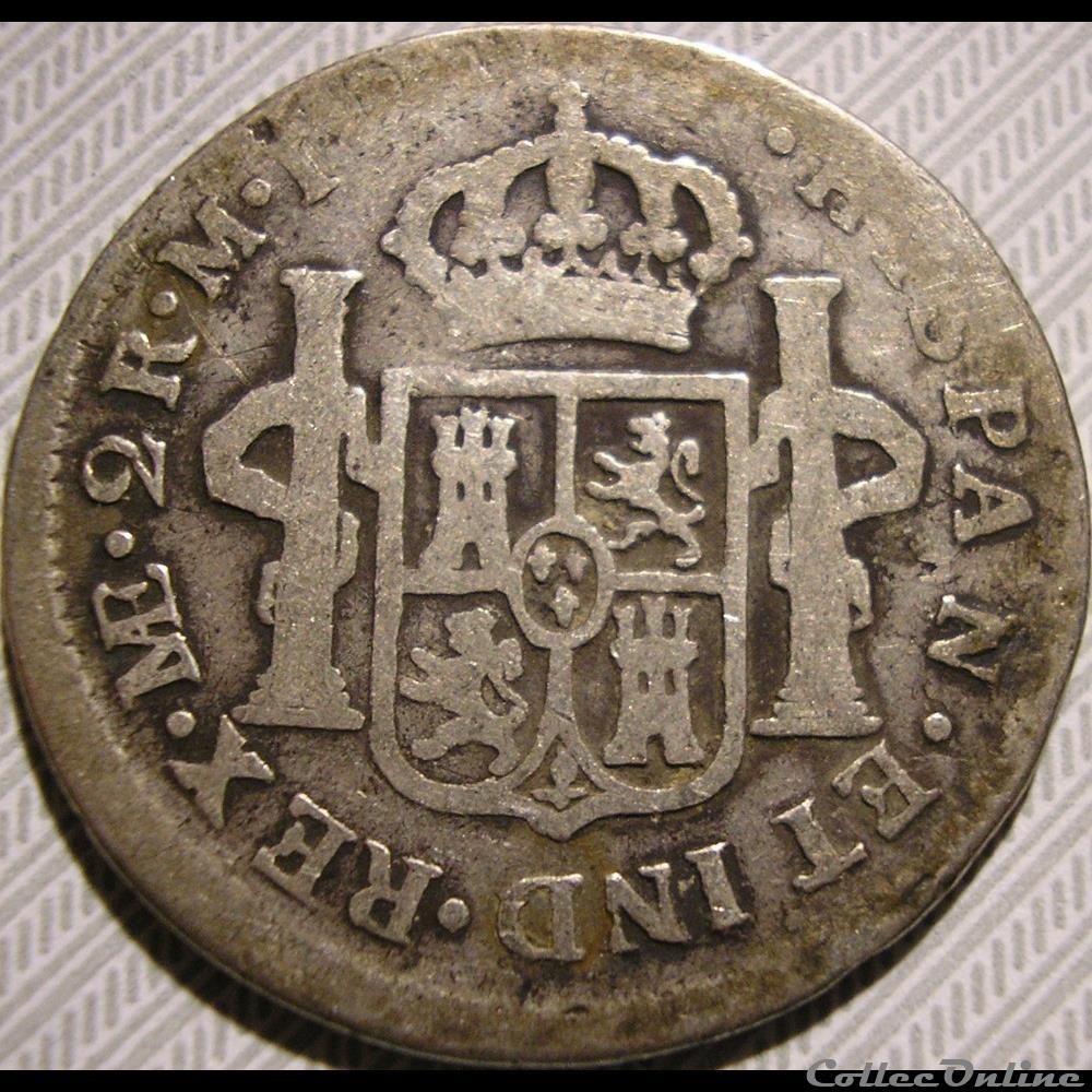 monnaie monde perou peru 2 reales 1786 lima carlos iii de espana