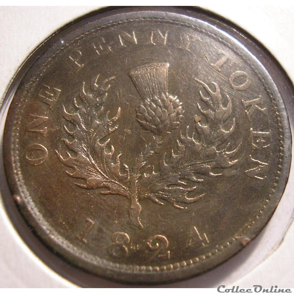 monnaie monde canadum george iv one penny token 1824 nova scotia