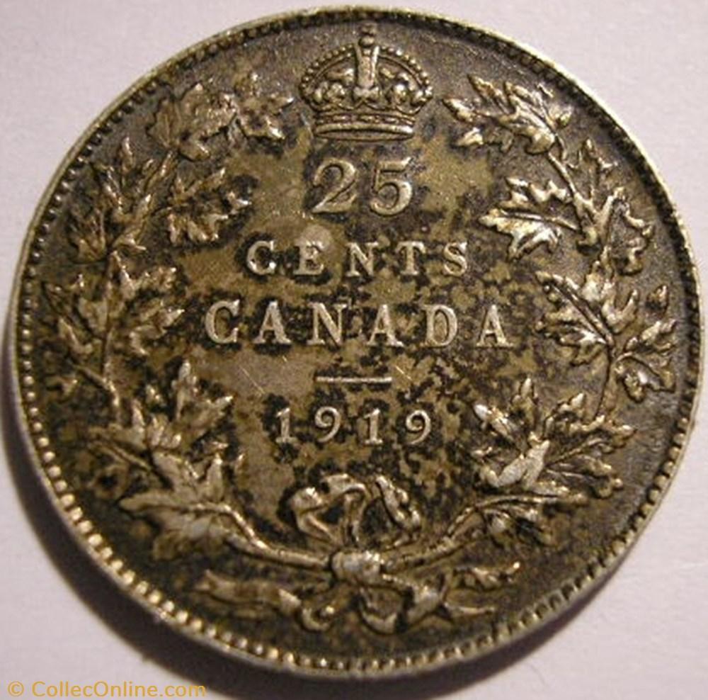 monnaie monde canadum george v 25 cents 1919