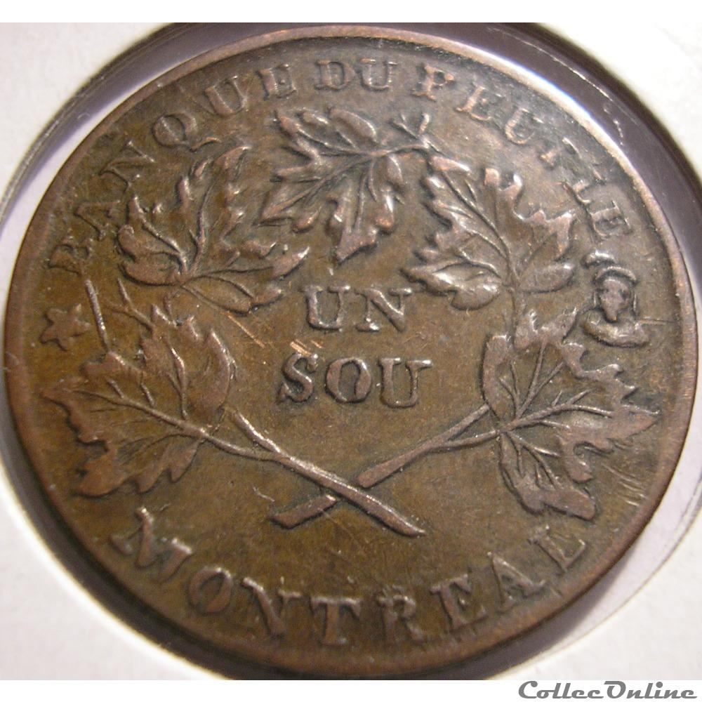 monnaie monde canadum montreal 1837 un sou bouquet banque du peuple rebellion