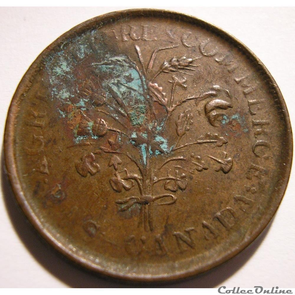 monnaie monde canadum montreal un sou belleville token ca 1835 1838 5 shamrocks
