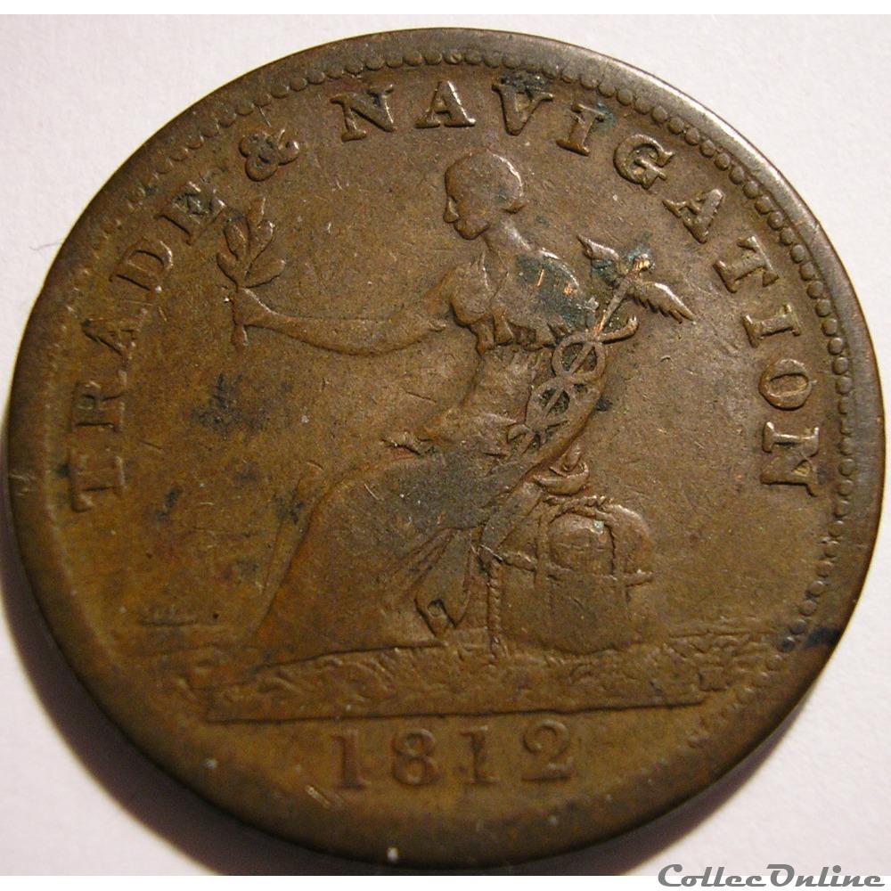 monnaie monde canadum george iii halfpenny token 1812 h trade navigation