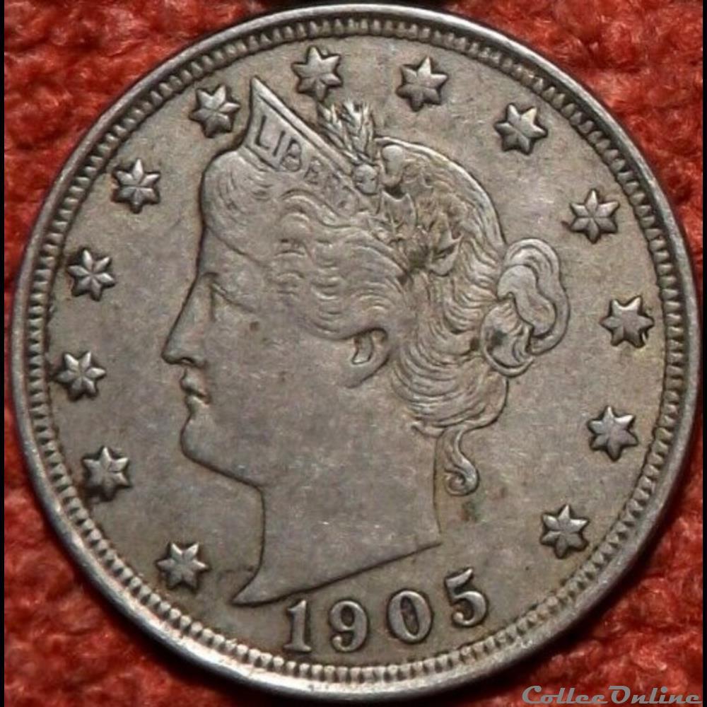 monnaie monde etat uni 1905 5 cents ex 4