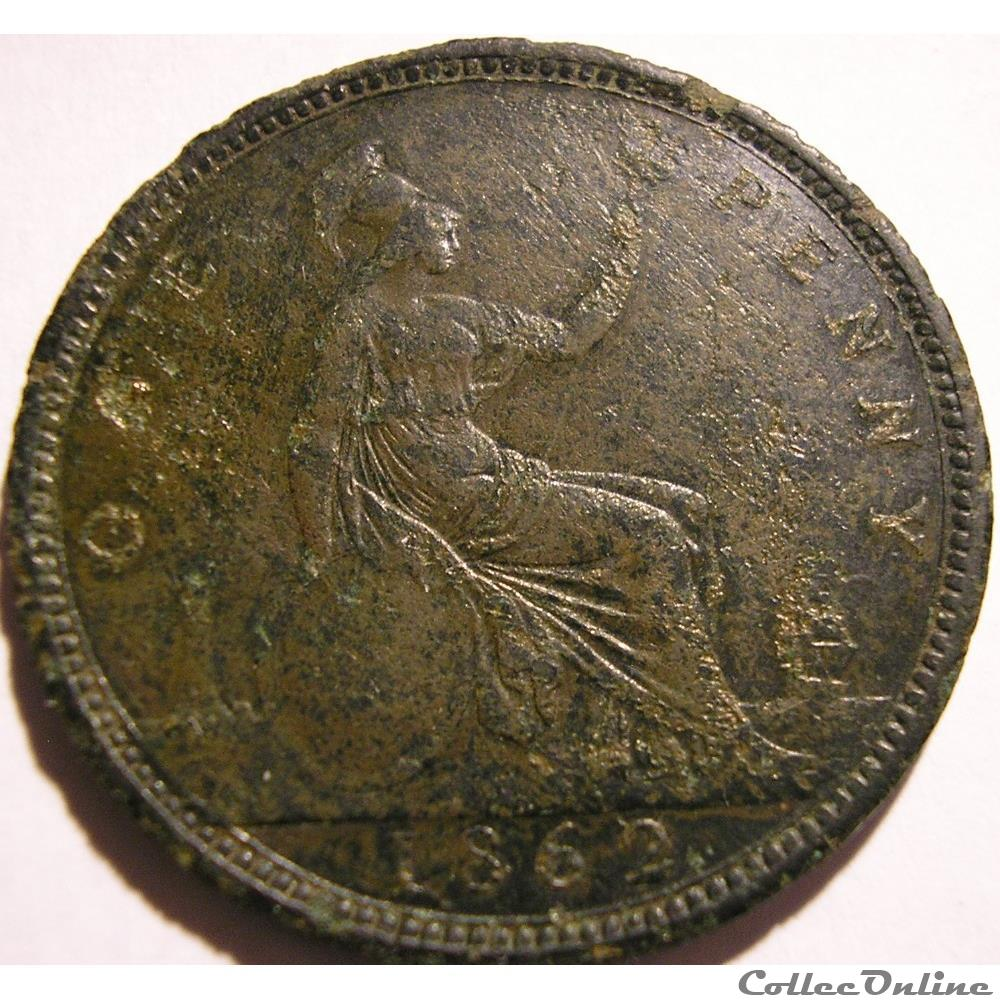 monnaie monde royaume uni victoria one penny 1862 kingdom of great britain
