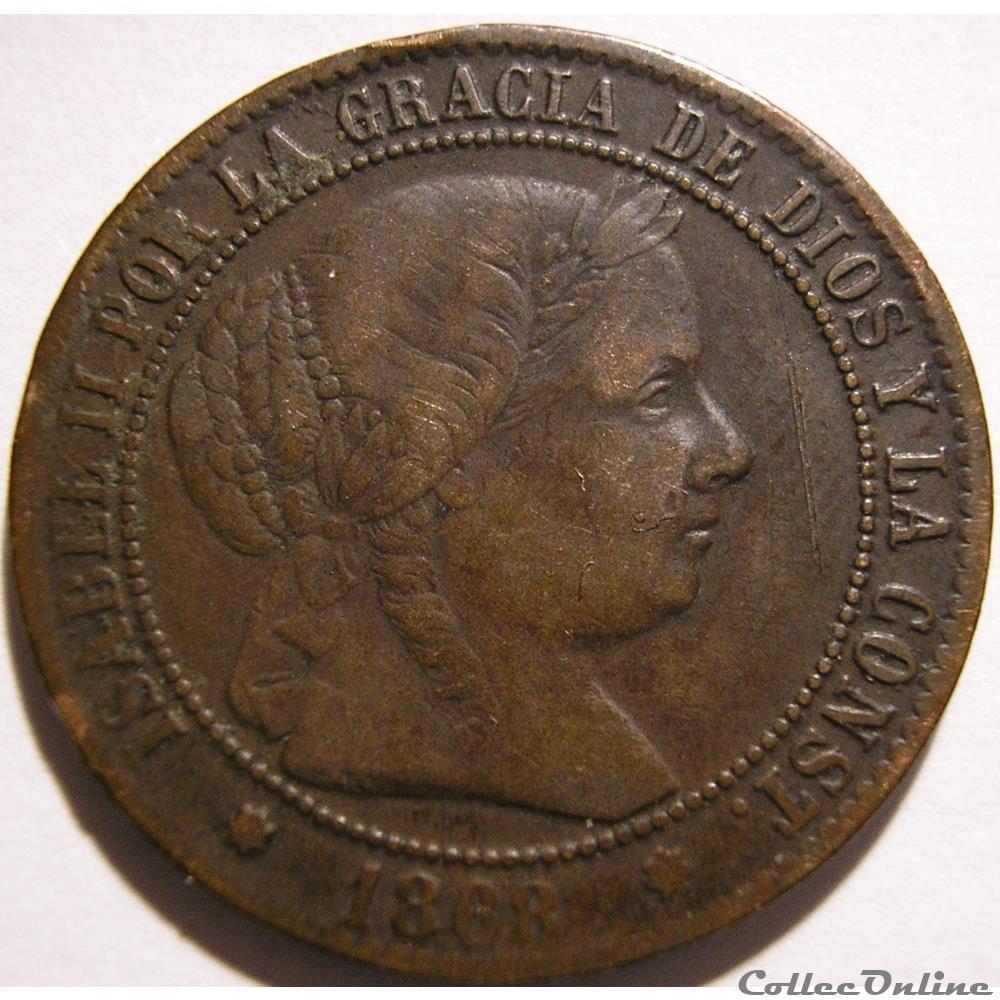 monnaie monde espagne 1868 sevilla 2 1 2 centimos isabel ii de espana