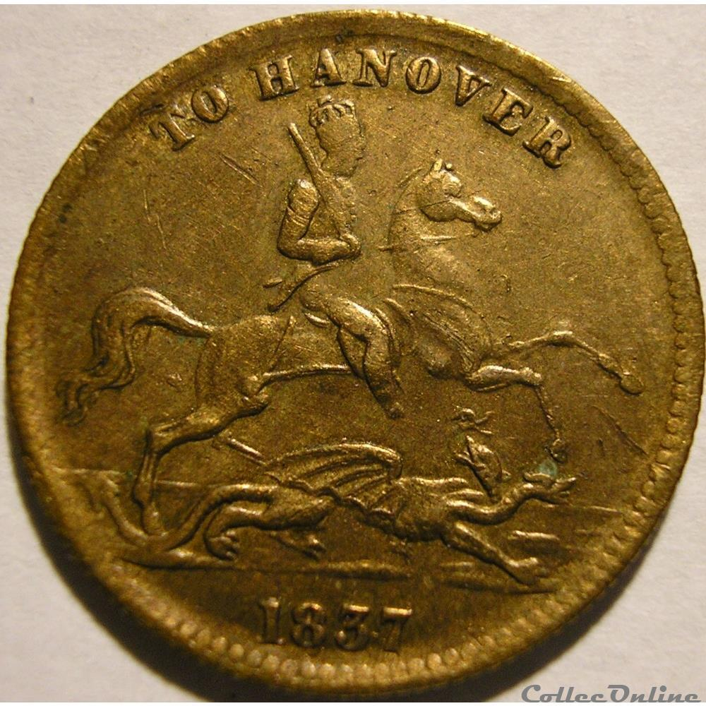 monnaie monde royaume uni victoria cumberland jack token 1837 to hanover