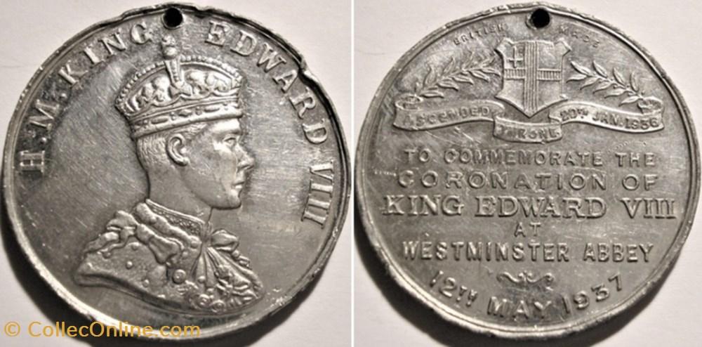 medaille royaume uni edward viii coronation medal 1937 at westminster abbey uk