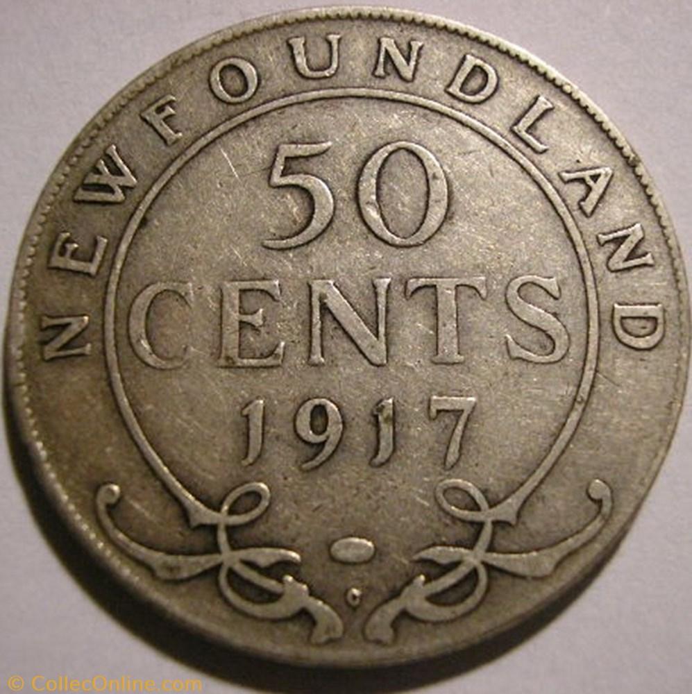 monnaie monde canadum george v 50 cents 1917 newfoundland