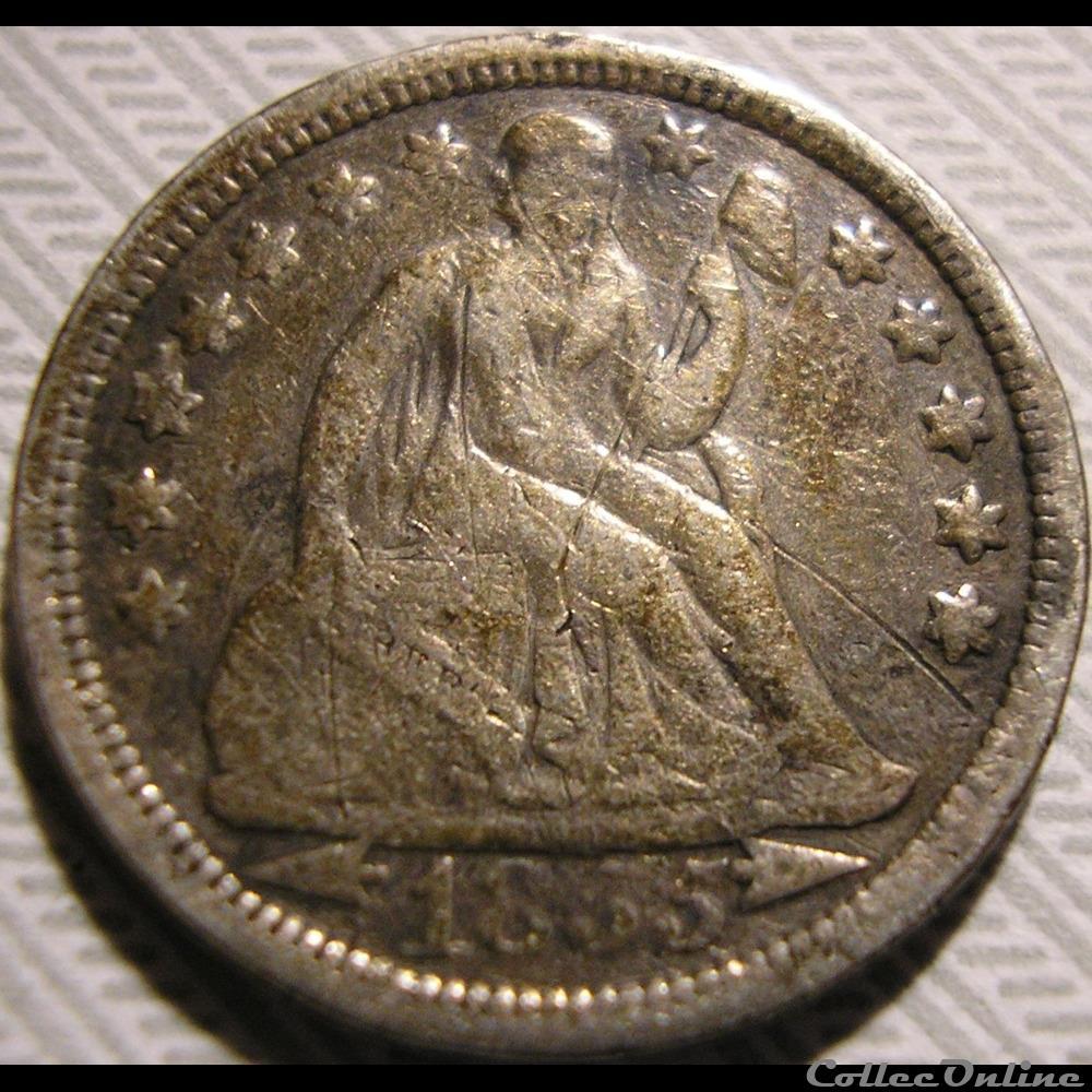 monnaie monde etat uni 1855 dime 10 cents