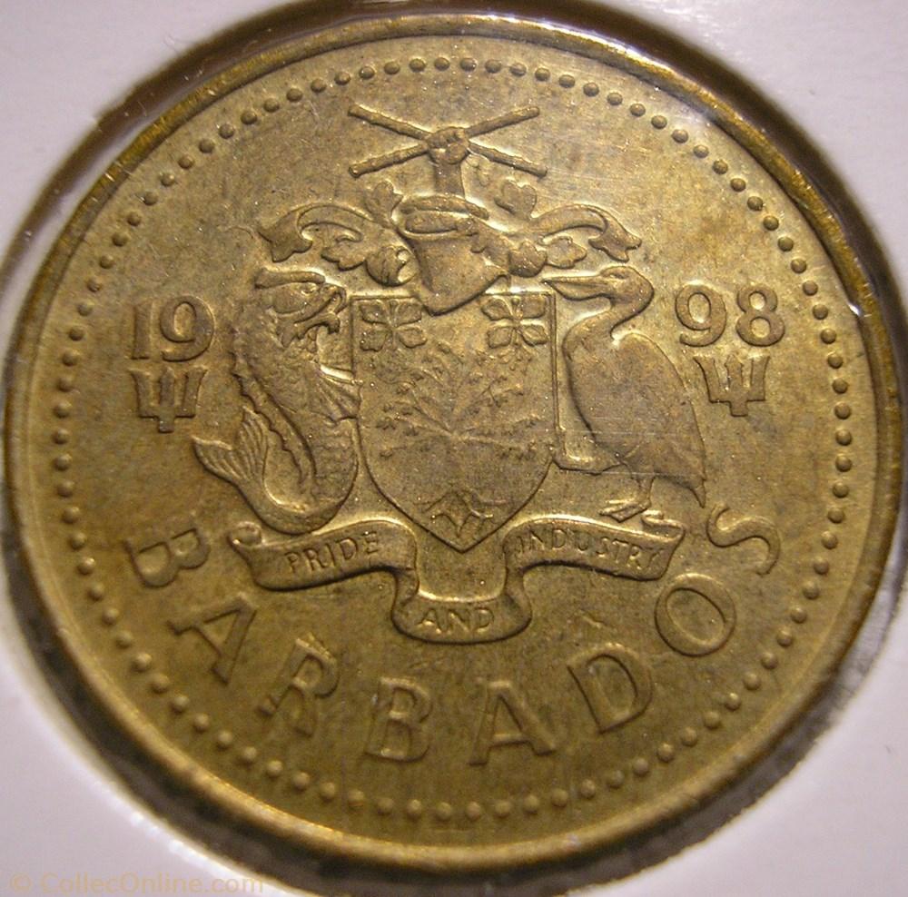 monnaie monde barbade barbados 5 cents 1998
