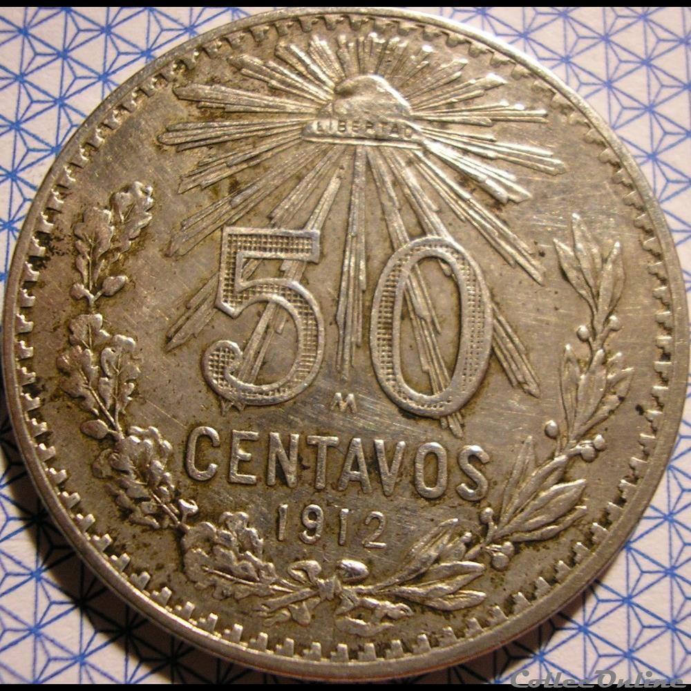 monnaie monde mexique mexico 1912 centavos 50 estados unidos mexicanos