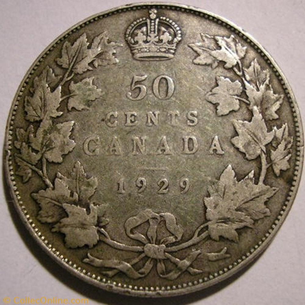monnaie monde canadum george v 50 cents 1929