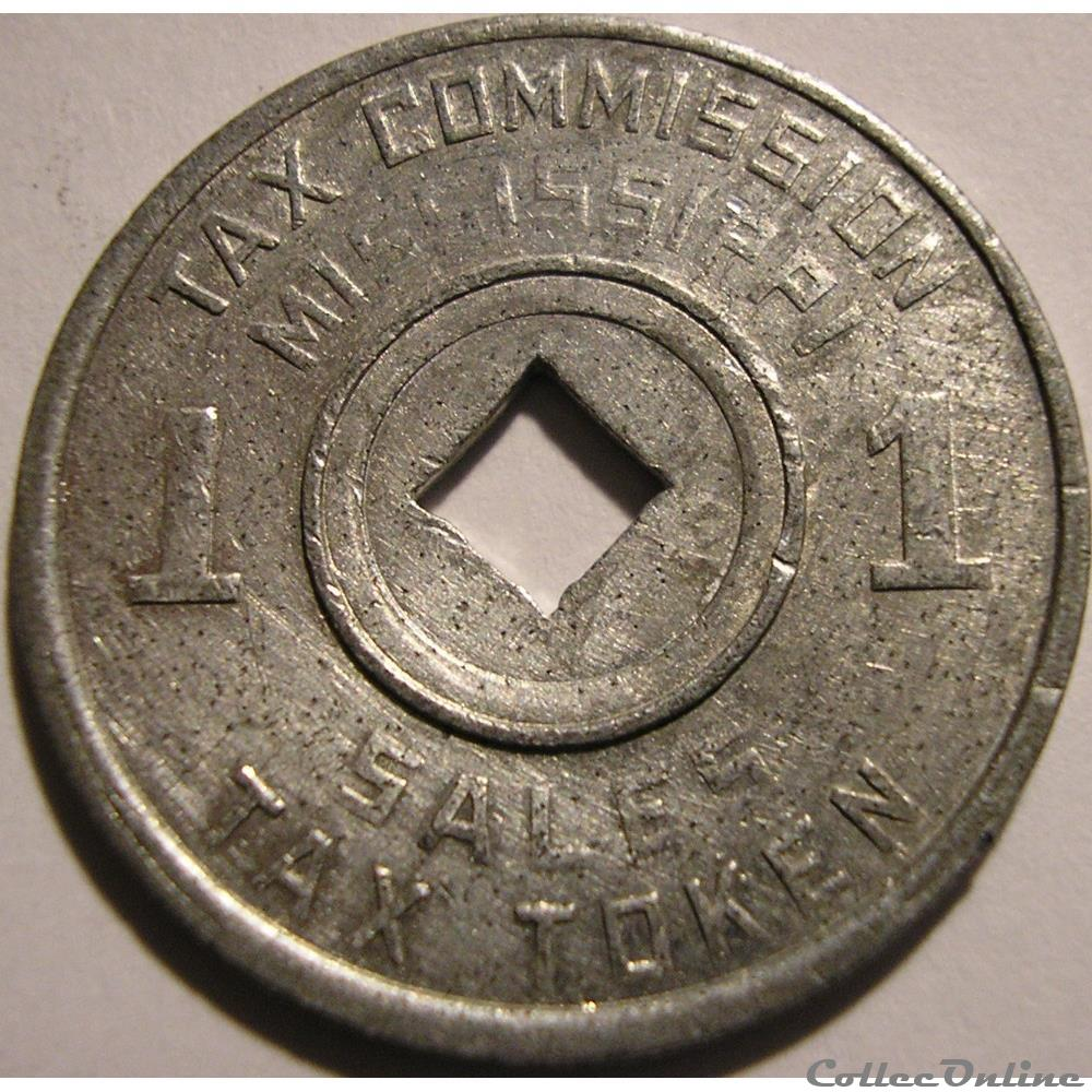 monnaie monde etat uni sales tax token 1 mill 1936 1941 mississippi