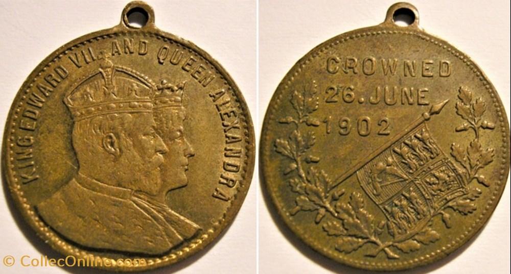medaille royaume uni edward vii alexandra gilt medalet coronation 1902
