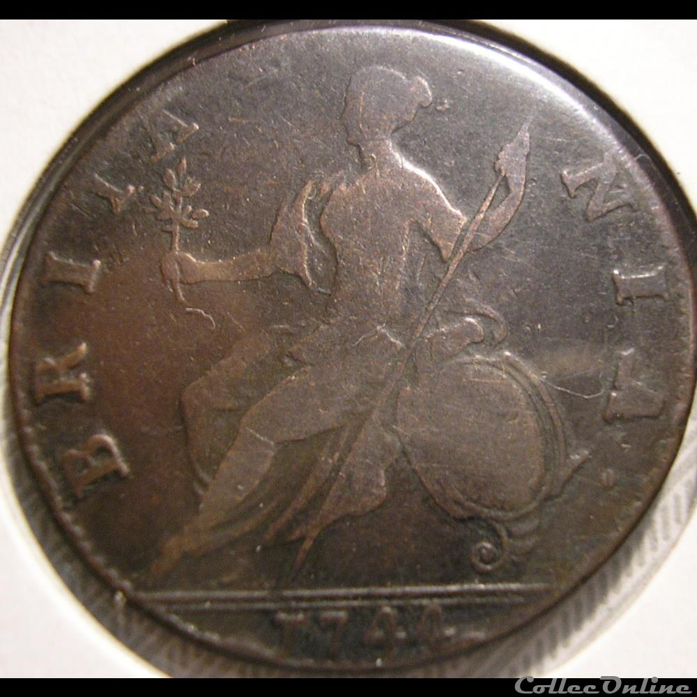 monnaie monde royaume uni george ii half penny 1744 great britain