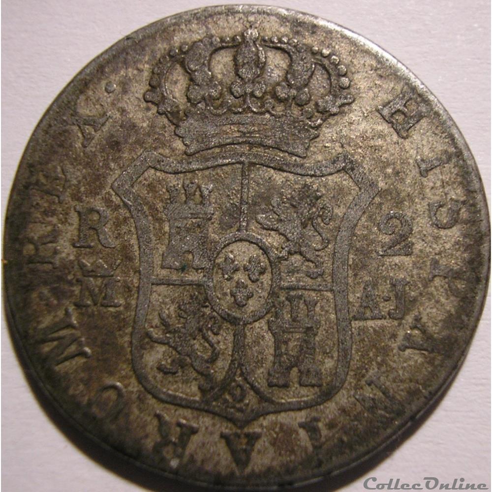 monnaie monde espagne 1830 madrid 2 reales fernando vii de espana