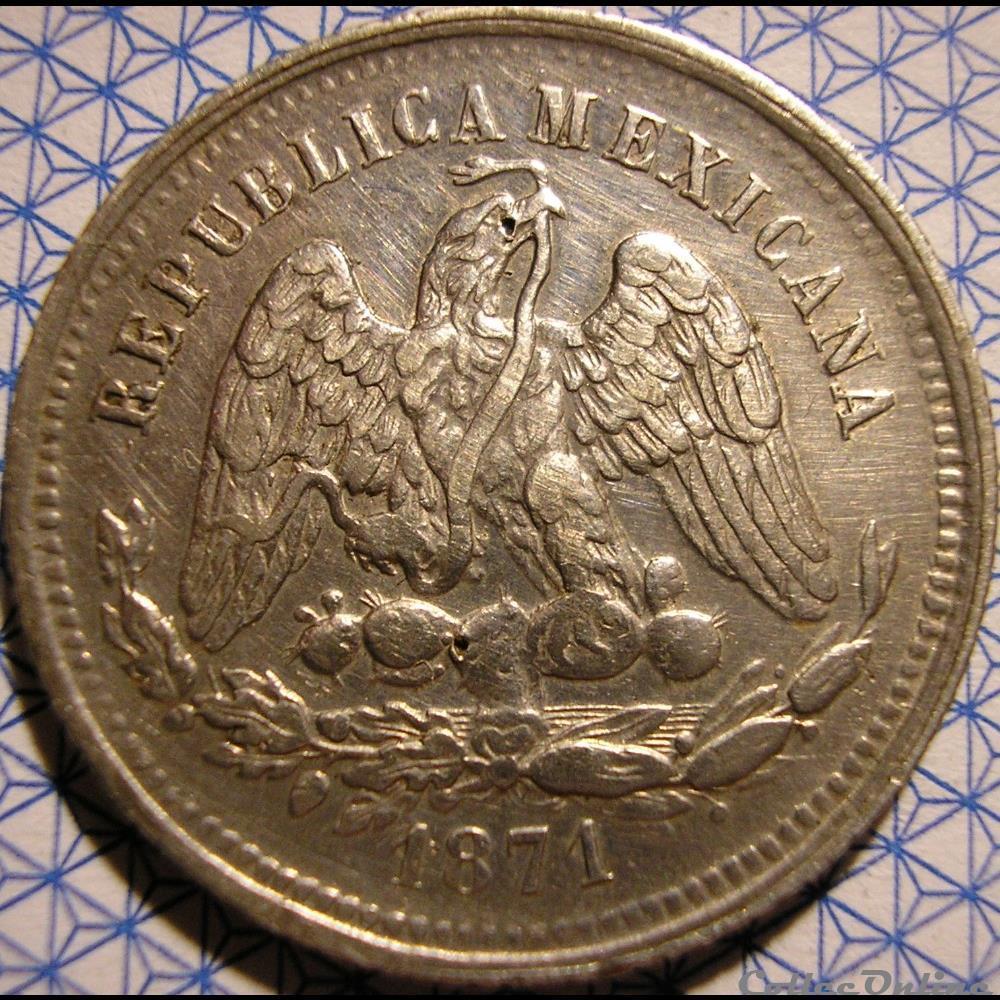 monnaie monde mexique mexico 25 centavos 1871 mo 2nd republic