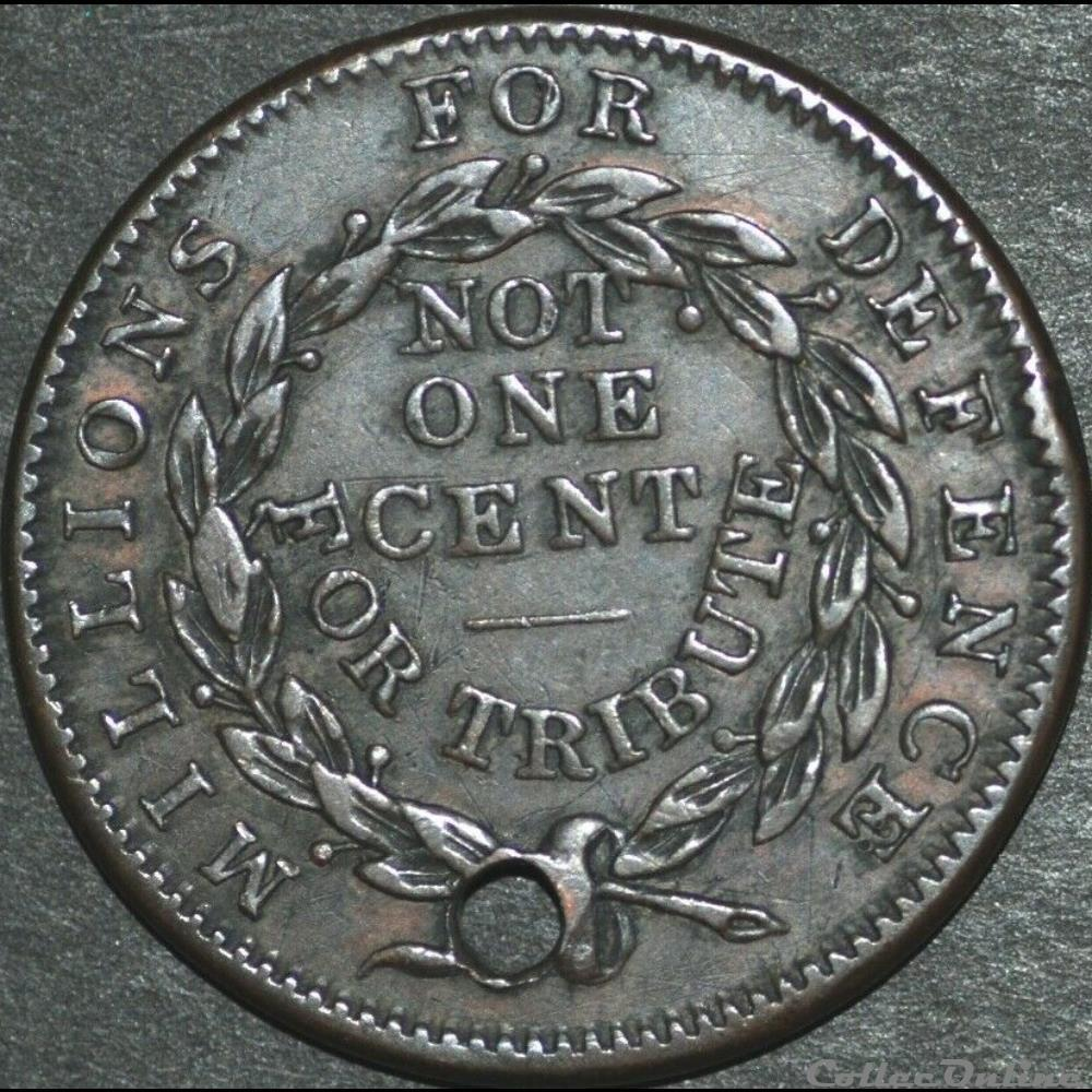 monnaie monde etat uni 1837 not one cent token millions for defence