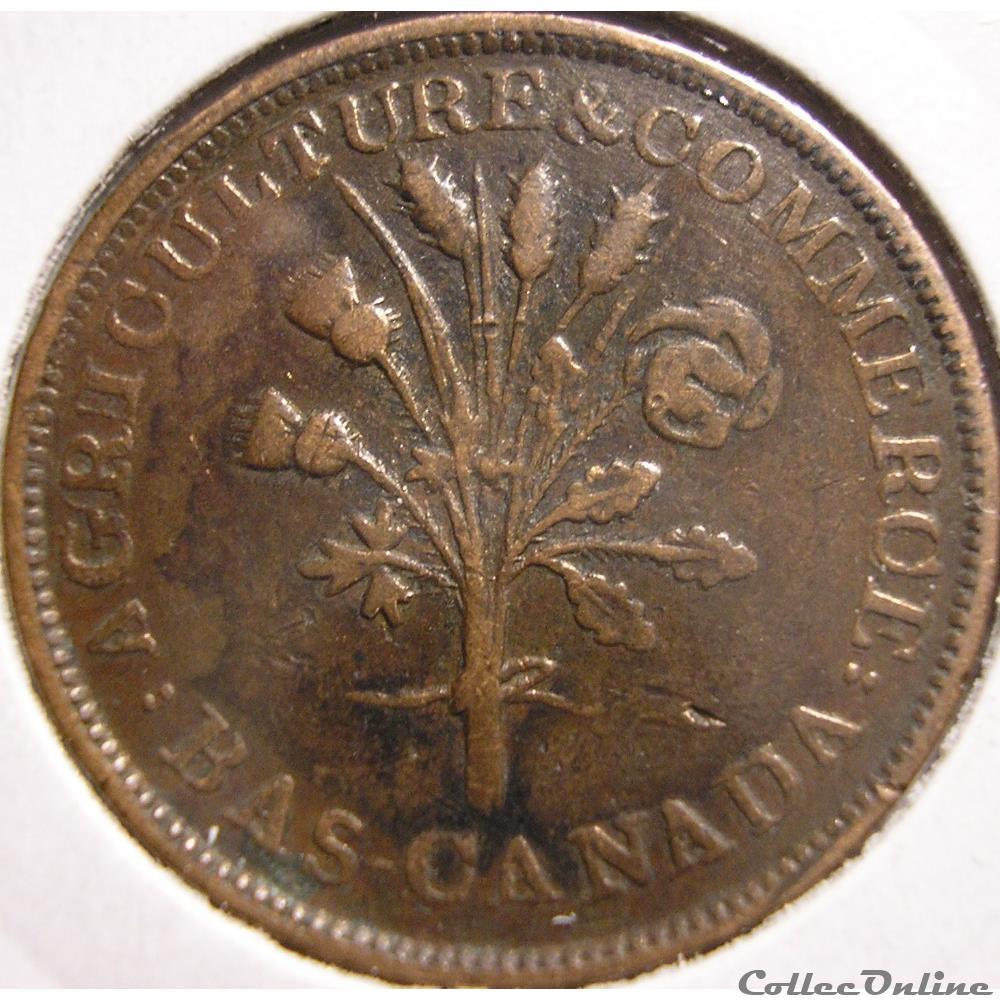 monnaie monde canadum montreal un sou belleville token ca 1835 1838 no shamrock