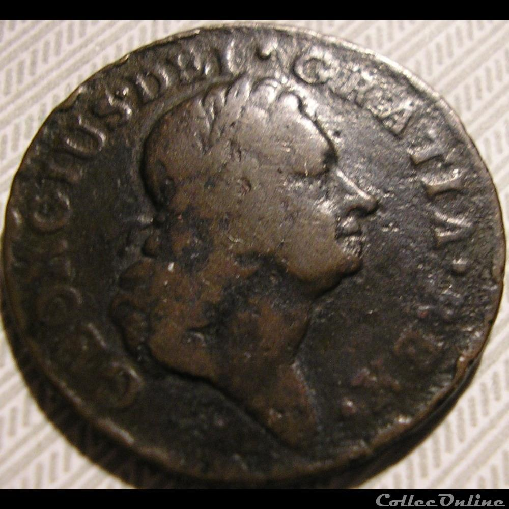 monnaie monde irlande 1723 farthing woos hibernia george ist