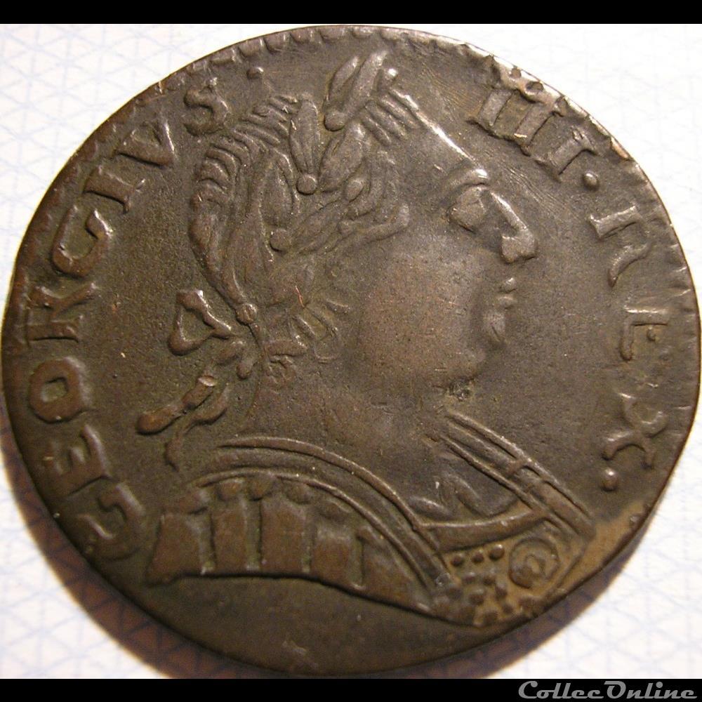 monnaie monde etat uni 1775 half penny no regal george iii of great britain ex 2