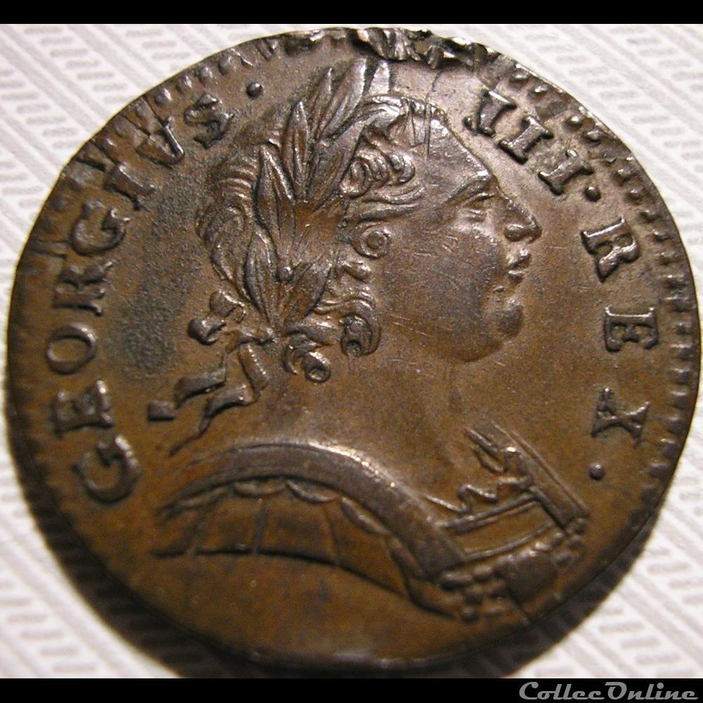 monnaie monde royaume uni george iii farthing 1775 great britain