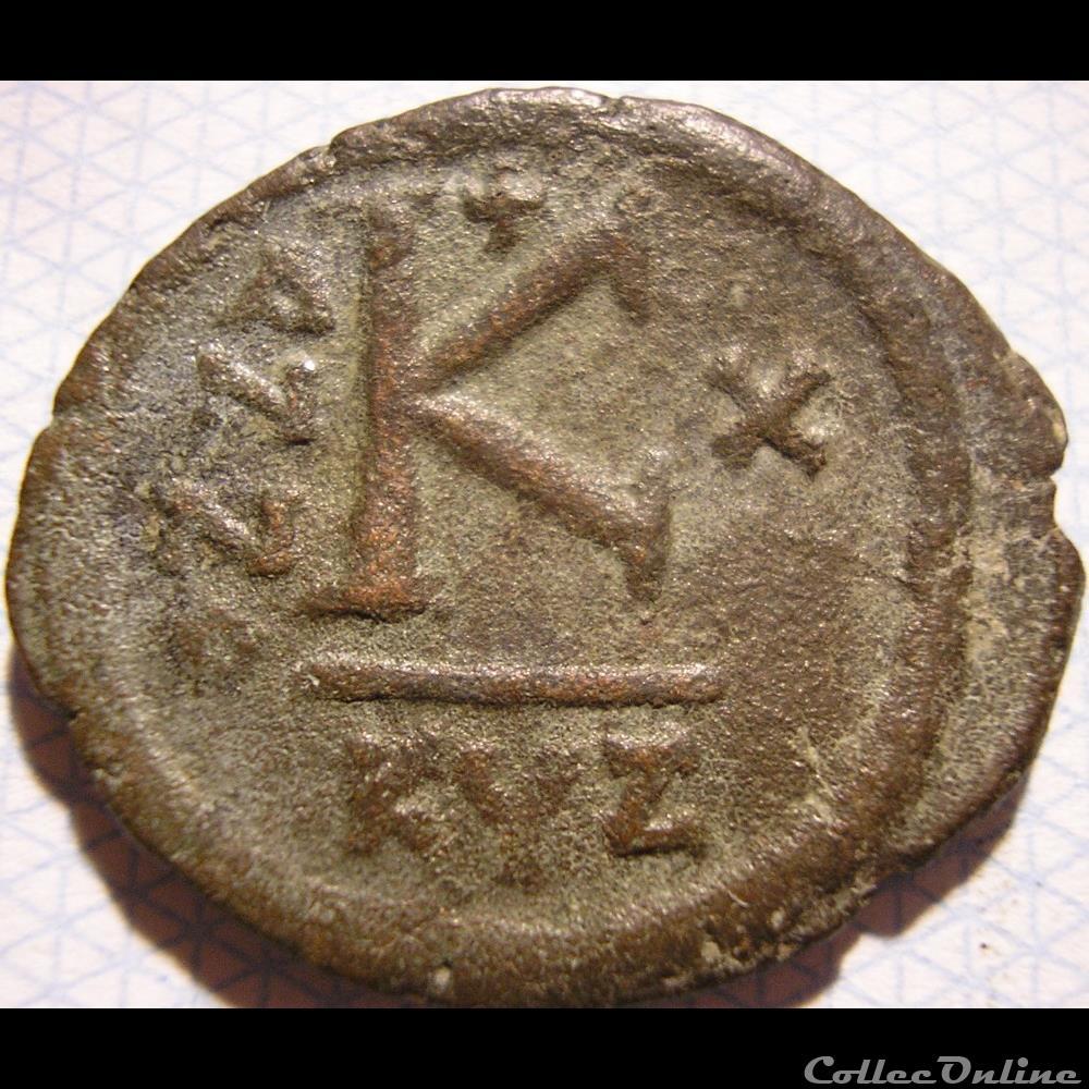 monnaie antique byzantine justin ii sophia 565 578 ad 1 2 follis year x cyzicus mint
