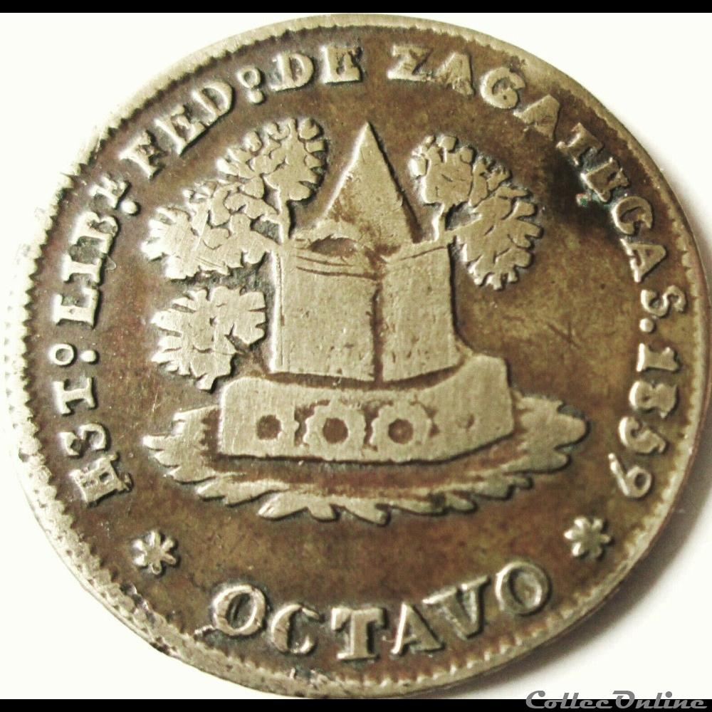 monnaie monde mexique mexico 1 8 real octavo 1859 estado de zacatecas