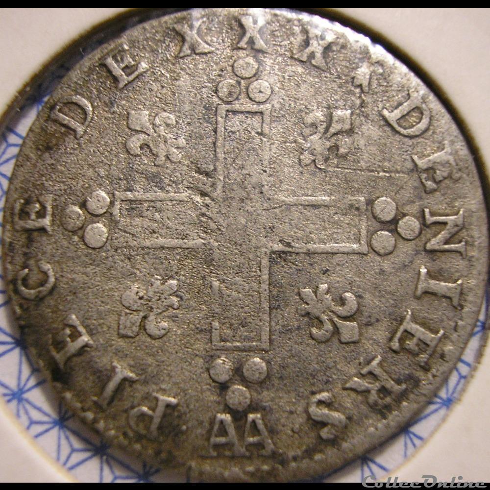 monnaie france colony louis xiv 30 deniers 1710 aa dit mousquetaire