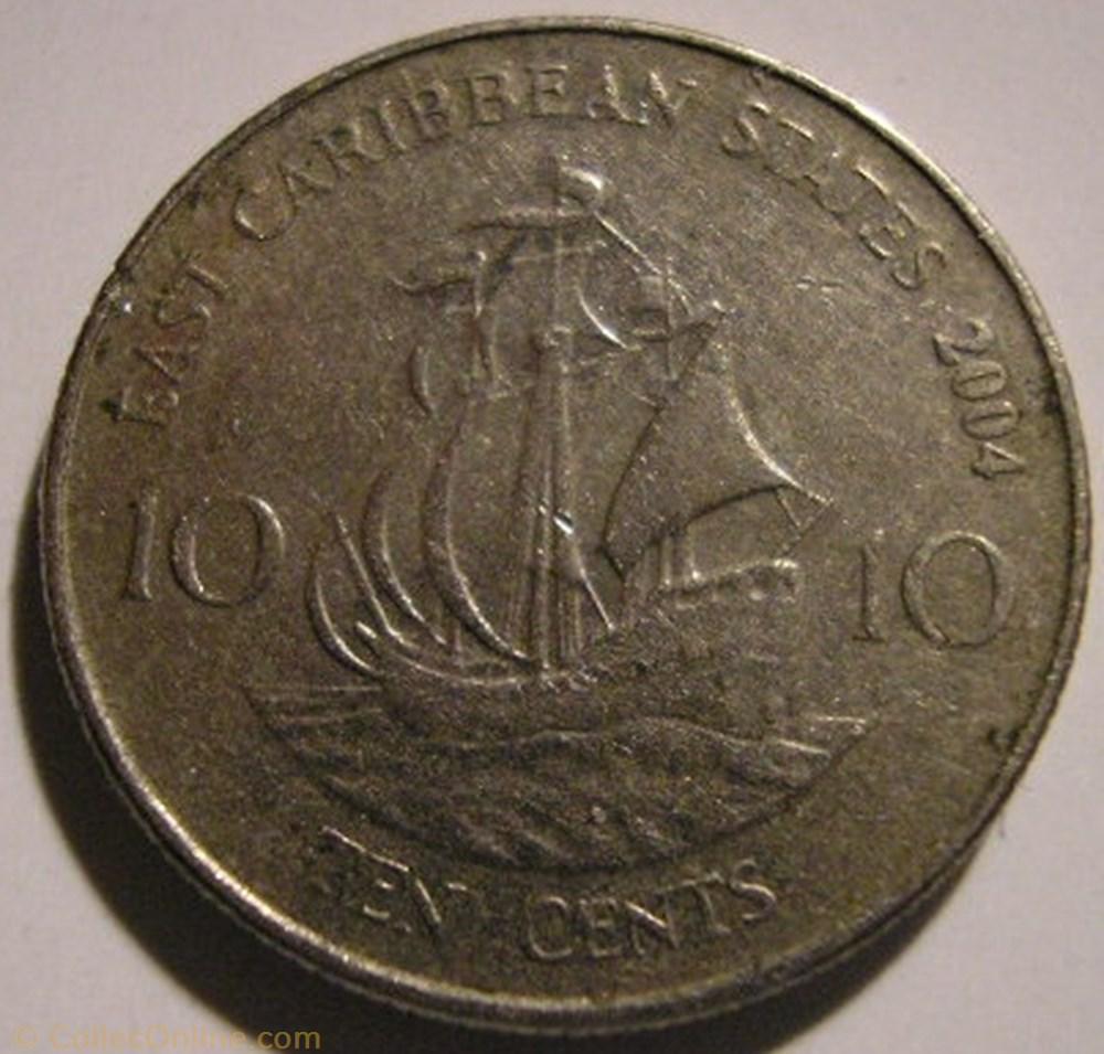 monnaie monde saint christophe niefe elizabeth ii 10 cents 2004 eastern caribbean states