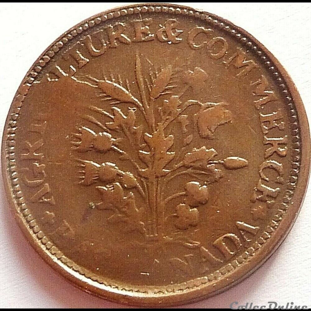 monnaie monde canadum montreal un sou belleville token ca 1835 1838 3 shamrocks