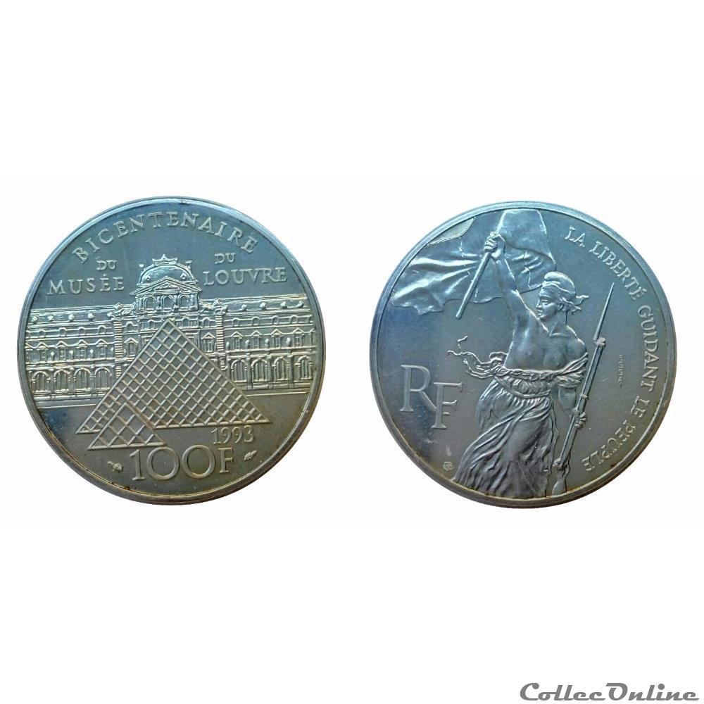 monnaie france moderne 100 francs 1993 delacroix essai