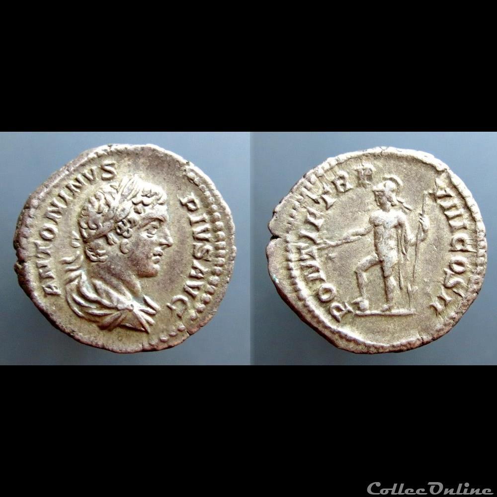 coin ancient roman caracalla ar denarius pontif tr p viii cos ii mars