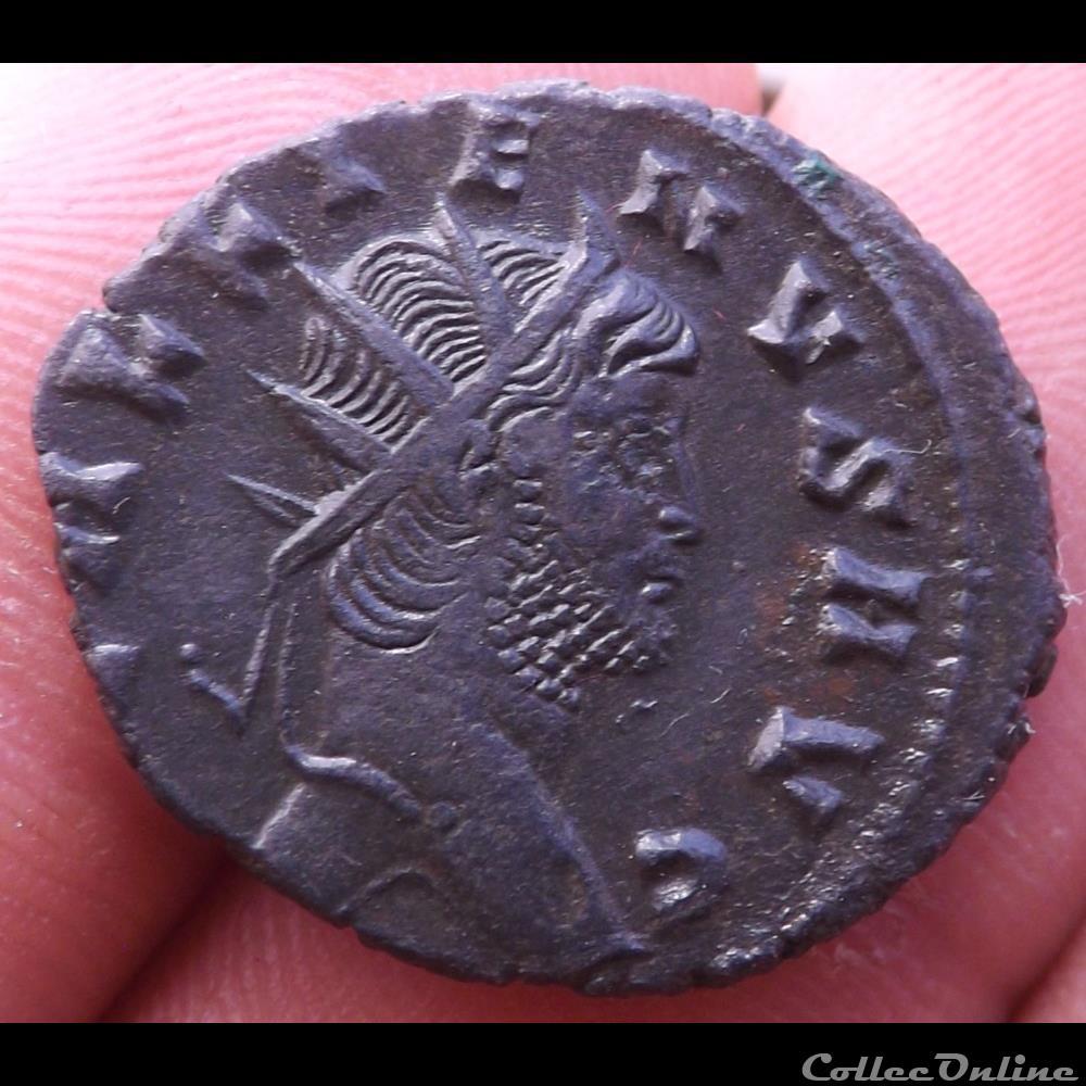 monnaie antique romaine gallien biche a gauche retournant la tete
