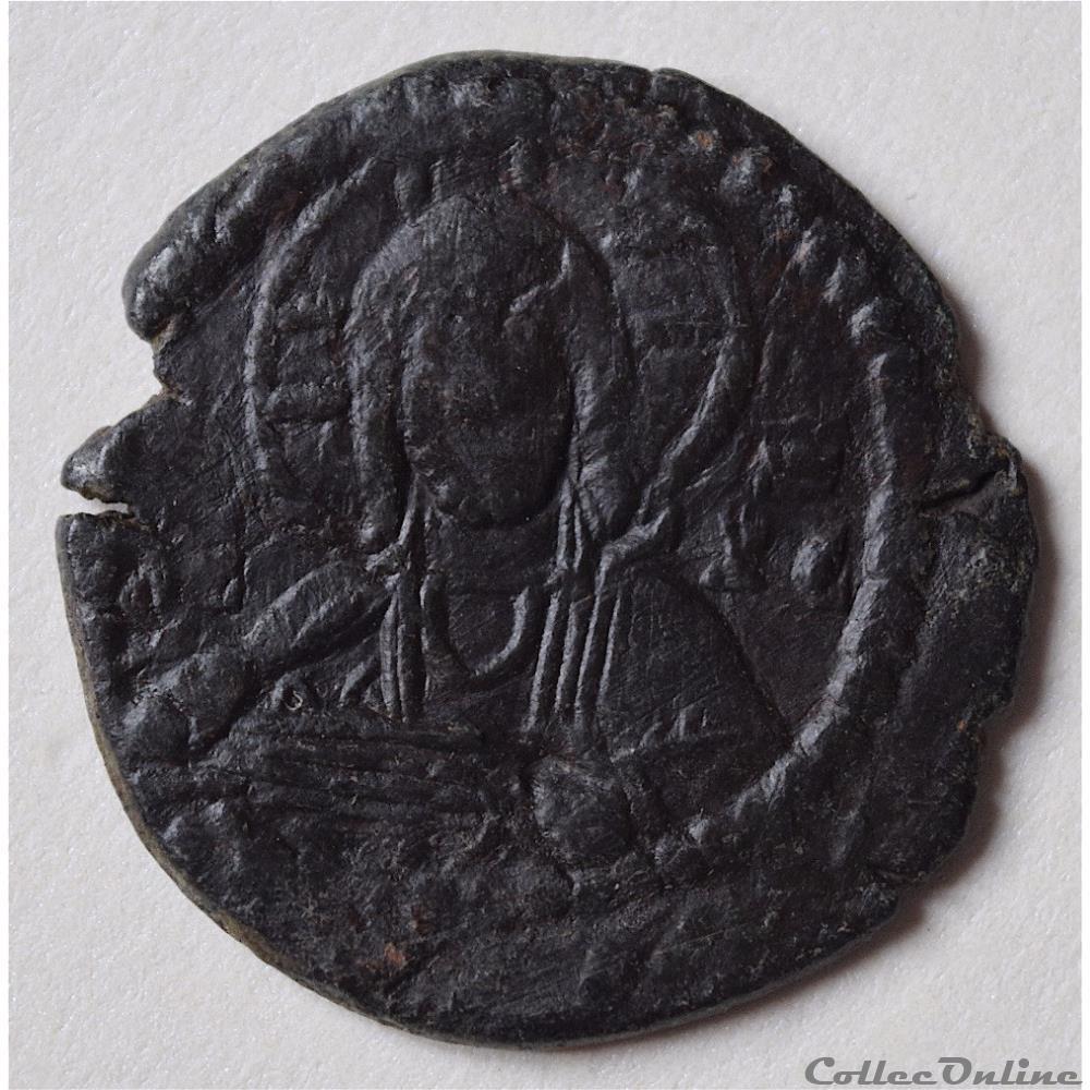 monnaie antique av jc ap byzantine romain iv diogene 1068 1071 follis anonyme au christ nimbe la vierge marie