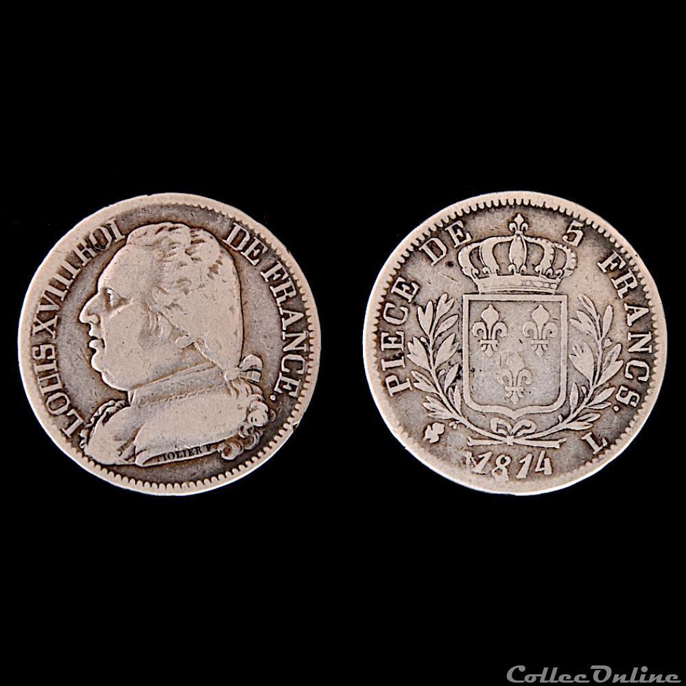 monnaie france moderne louis xviii 5 francs buste habille 1814 bayonne