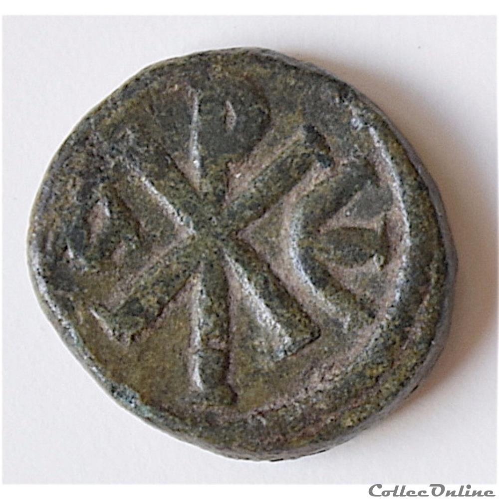 monnaie antique byzantine justin ier 518 527 a d pentanummium au christogramme
