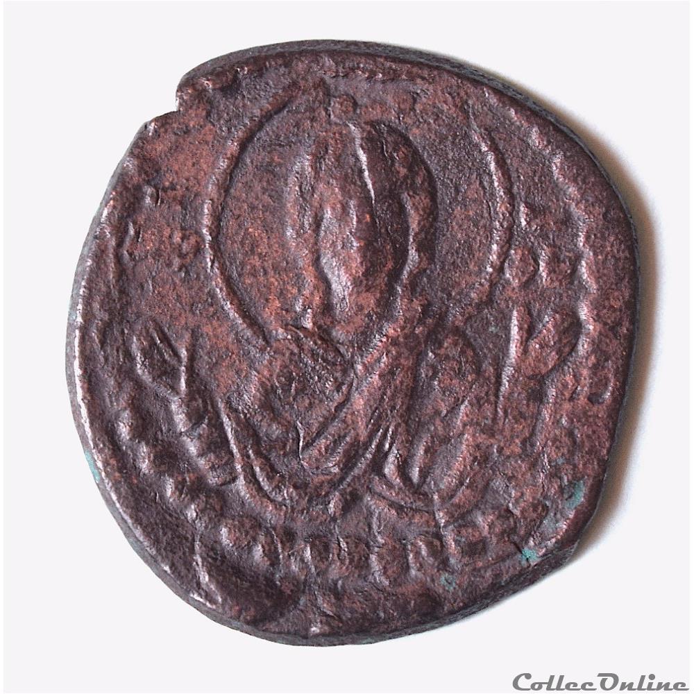 monnaie antique byzantine romain iv diogene 1068 1071 follis anonyme au christ nimbe