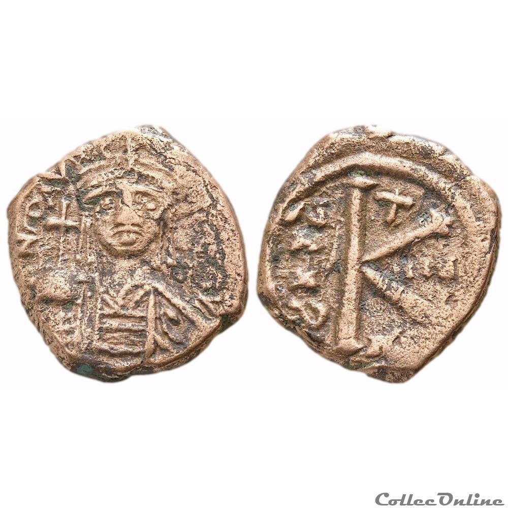monnaie antique byzantine maurice tibere demi follis maurice tibere 582 602 thessalonique sear 509