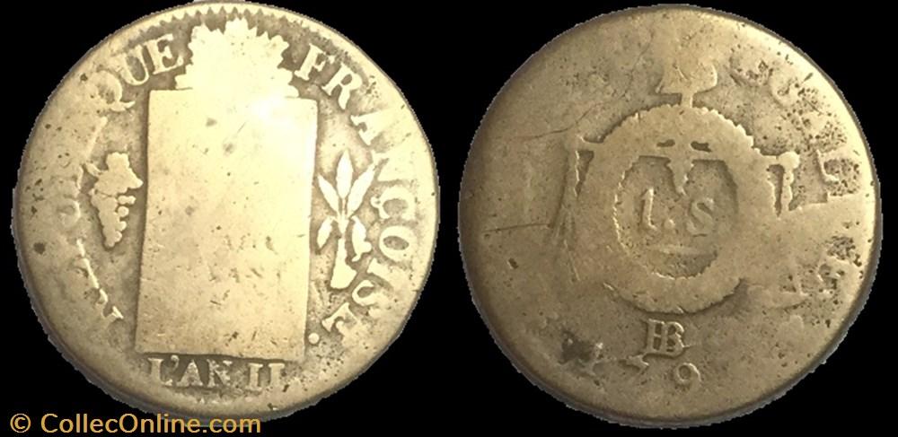 monnaie france moderne 1 sol au balance 1793 bb