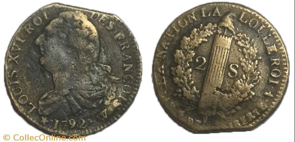 monnaie france moderne 2 sols dit au faisceau 1792 w bord de feuille