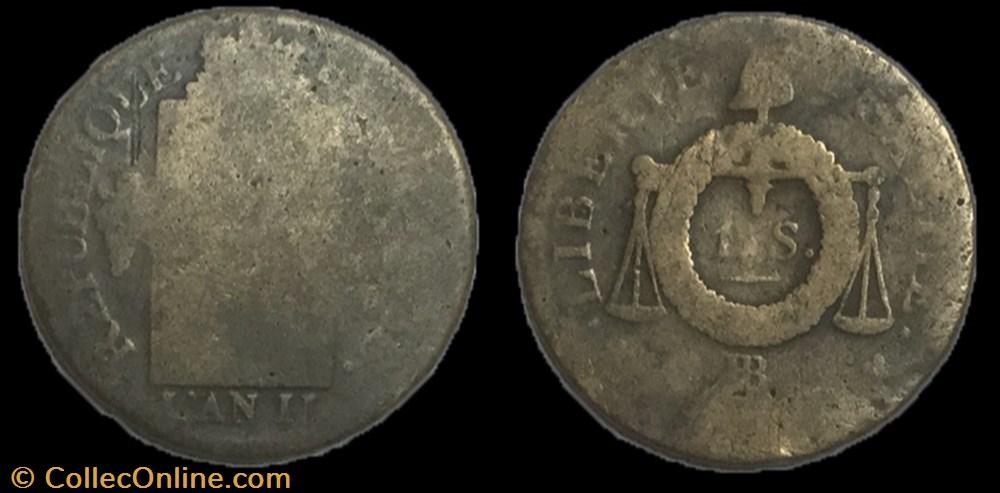 monnaie france moderne 1 sol au balance an ii bb