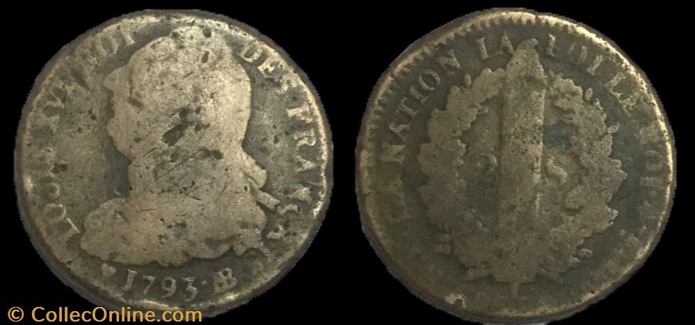 monnaie france moderne 2 sols dit au faisceau 1793 bb