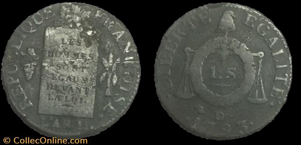 monnaie france moderne la convention 1 sol dit a la table de loi 1793 lyon