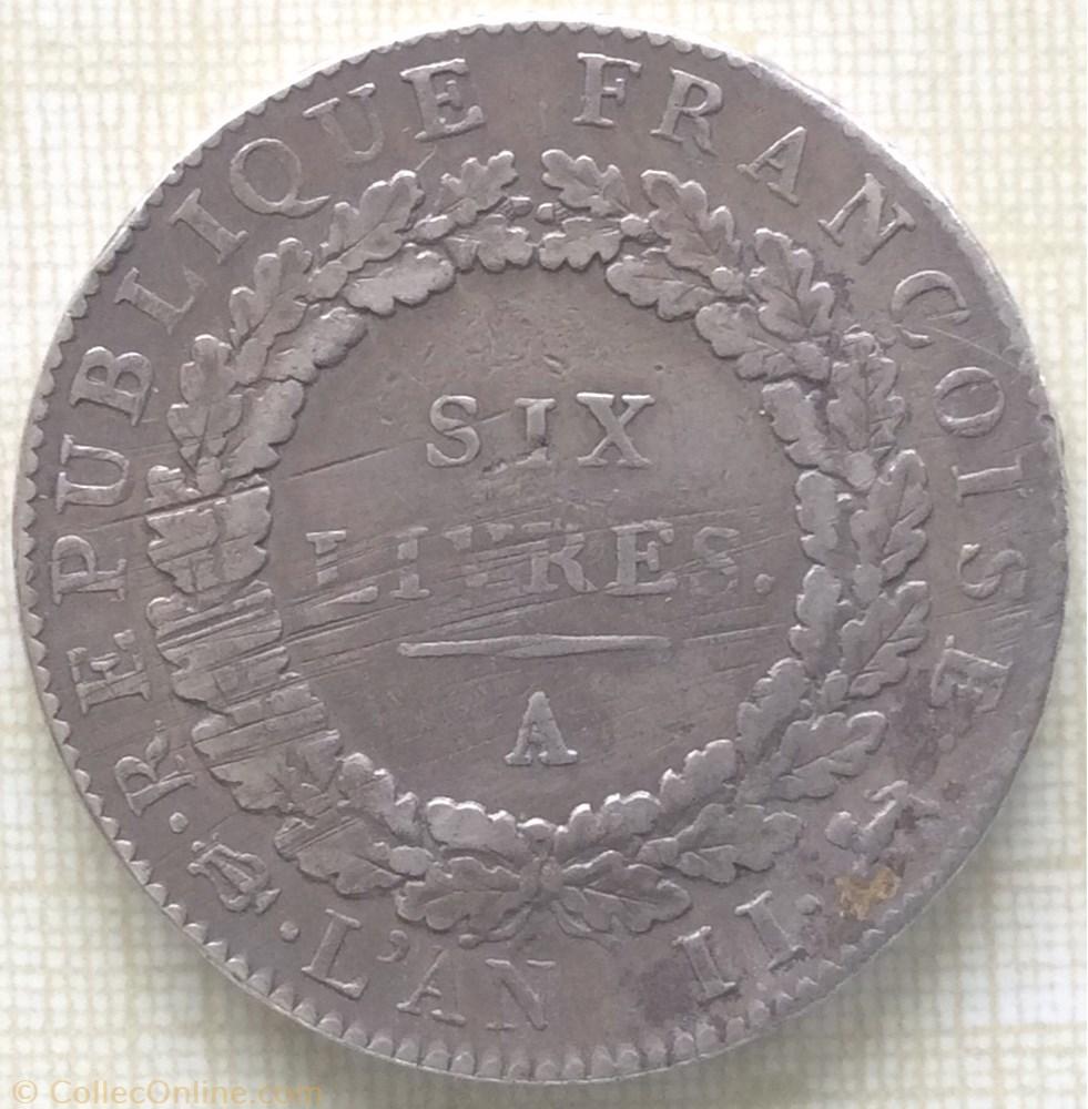 monnaie france moderne ecu de six livres type francoise 1793 a