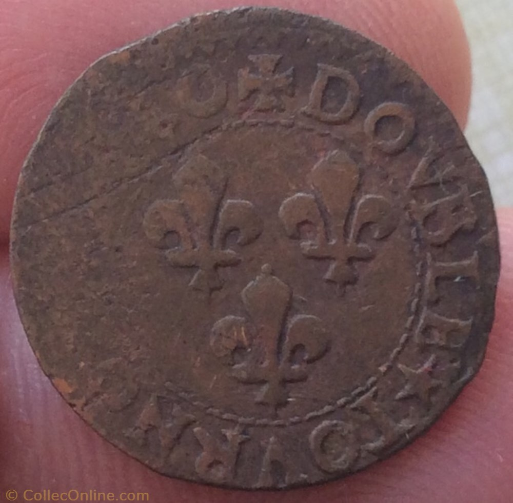 monnaie france royale double tournois louis xiii 1640 h la rochelle