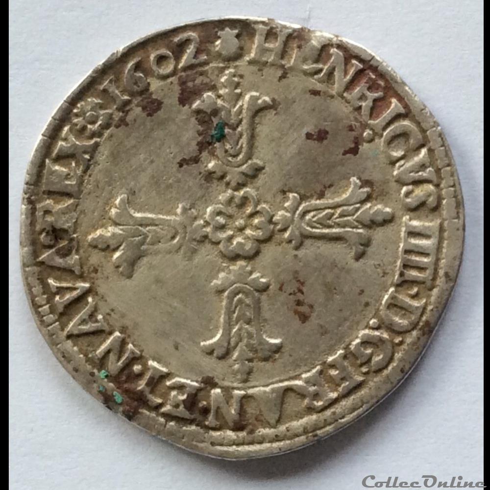 monnaie france royale quart ecu de henri iiii 1602 m toulouse