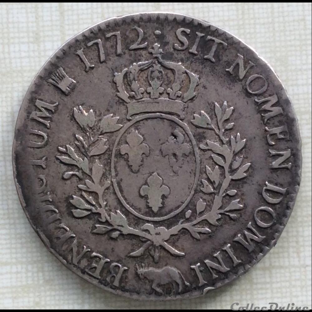monnaie france royale ecu a la vieille tete du bearn louis xv 1772 vachette pau